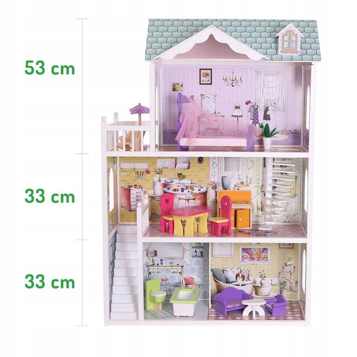 Wymiary pięter drewniany domek dla lalek Ecotoys-beverly-hills