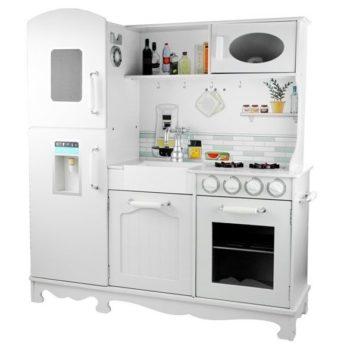 Kuchnia Drewniana Nela biała, lodówka, piekarnik