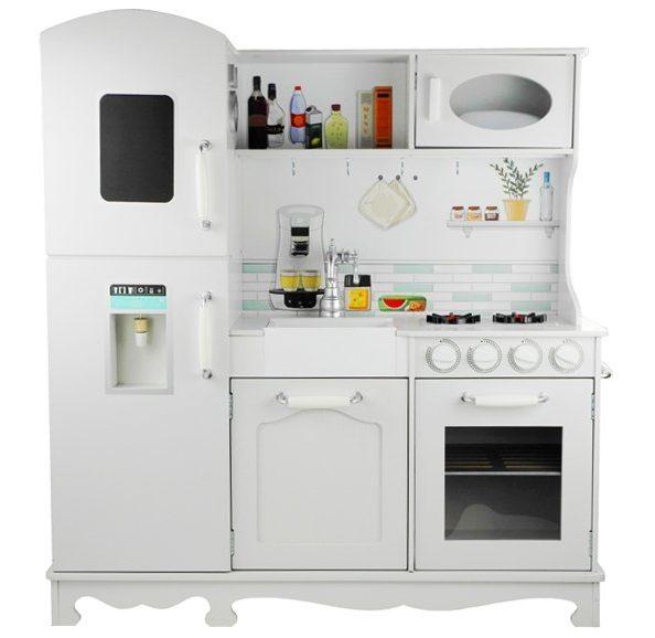 Kuchnia drewniana Nela biała z lodówką i piekarnikiem