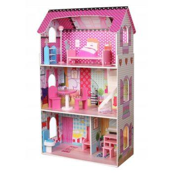 Drewniany domek dla lalek - rezydencja poziomkowa
