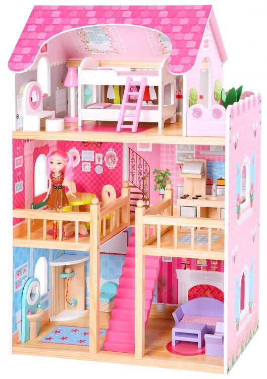 Duży, drewniany domek dla lalek Malinowa2