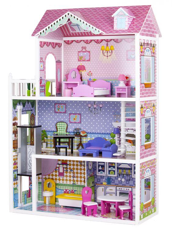 Drewniany domek dla lalek ECOTOYS