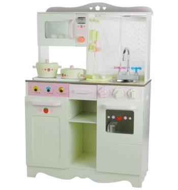 Biało-różowa drewniana kuchnia Ania