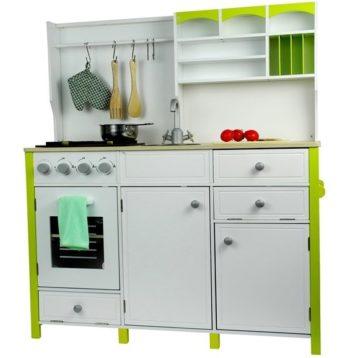 Biało-zielona, drewniana kuchnia dla dzieci