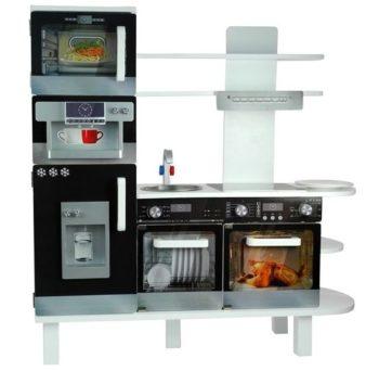 Drewniana kuchnia Jola z ekspresem, piekarnikiem i lodówką