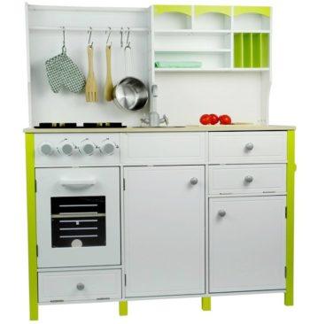 Drewniana, biało zielona kuchnia dla dzieci