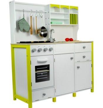 Drewniana kuchnia biało-zielona
