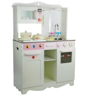 Kuchnia drewniana Ania biało-różowa